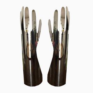Figure a forma di mani in alluminio di Gio Ponti per Christofle, anni '70, set di 2