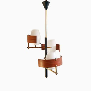 Mid-Century Italian Pendant in Teak and Brass
