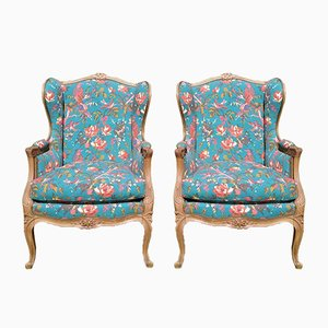 Vintage Louis XV Style Bergères Chairs, Set of 2