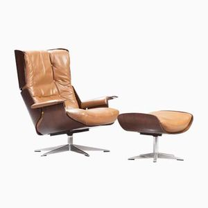 Mid-Century Modern Rosewood Swivel Lounge Chair with Ottoman