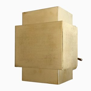 Cubic Brass Wall Lamp, 1960s