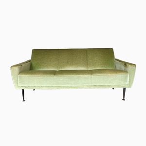 Grünes Vintage 3-Sitzer Samtsofa
