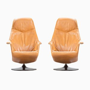 Mid-Century Modern Leather Swivel Lounge Chairs, Set of 2