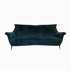 Italian Teal Velvet Sofa, 1950s
