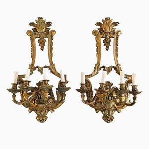 Apliques de pared estilo renacentista italianos vintage de bronce. Juego de 2