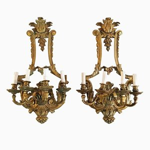 Vintage Italian Renaissance Style Wall Sconces in Bronze, Set of 2