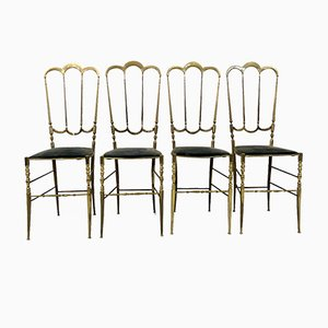 Chiavari Beistellstühle aus Messing, 4er Set