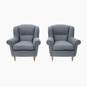 Italienische Sessel mit kegelförmigen Beinen, 1950er, 2er Set