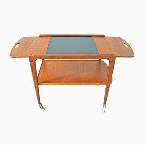 Hinged Side Table & Serving Trolley, 1960s. By Yngve Ekström for Källemo. Teak Bar Cart Danish Modern.