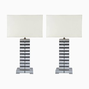 Italian Murano Glass and Chromed Metal Lamps, 1980s, Set of 2