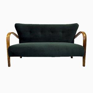 Italienisches 2-Sitzer Sofa aus Bugholz & grünem Samt, 1950er