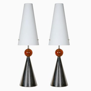 Italian Lamps with Opaline Shade, 1980s, Set of 2
