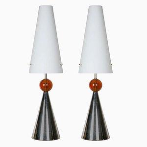 Italienische Lampen mit Opalglasschirm, 1980er, 2er Set