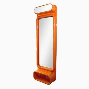 Specchio Pop Art in plastica arancione, anni '70