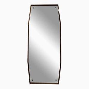 Espejo italiano octogonal de madera, años 60