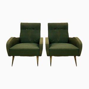 Italienische Vintage Sessel mit Messingfüßen, 2er Set