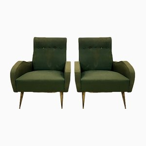 Vintage Italian Armchairs with Brass Legs, Set of 2