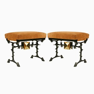 Bronze and Suede Stools by Peter Van Heeck, 1970s, Set of 2
