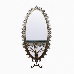 Großer ovaler Spiegel mit vergoldetem Metallrahmen und Konsole von Pier Luigi Colli, 1955