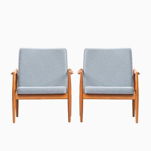 Mid-Century Teak Lounge Chairs by Kai Kristiansen for Fritz Hansen, Set of 2