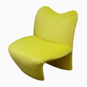 Yellow Velvet Lounge Chair, 1980s