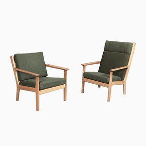 Mid-Century GE-265 Beech Easy Chairs by Hans Wegner for Getama, Set of 2