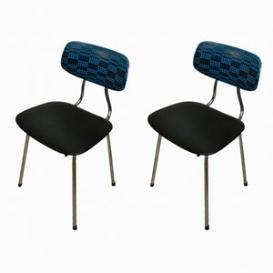 Mid-Century Black & Blue Chrome-Plated Dining Chairs, Set of 2