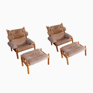 Inca Easy Chairs with Ottomans by Arne Norell for Arne Norell AB, 1973, Set of 2
