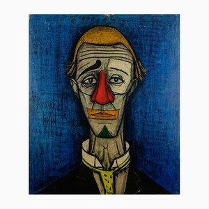 Art Print on Wood of the Painting Tête de clown by Bernard Buffet, 1970s