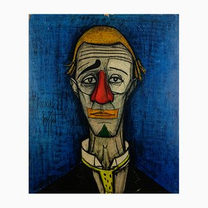 Kunstdruck des Gemäldes Tête de clown auf Holz von Bernard Buffet, 1970er