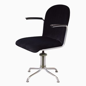 Chaise de Bureau 356 en Cuir Noir par W.H. Gispen, 1950s