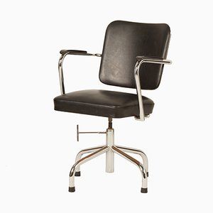 Black Tubular Desk Chair with Armrests from Fana Rotterdam, 1940s