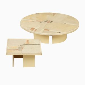 White Stone Coffee Tables by Paul Kingma, 1982, Set of 2