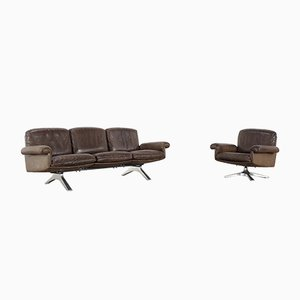 Poltrona girevole e divano a tre posti DS 31 di de Sede, anni '70