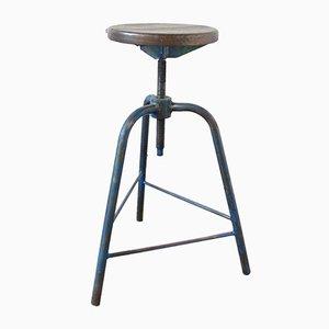 Sgabello vintage industriale blu