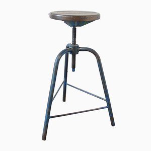 Vintage Industrial Stool in Blue