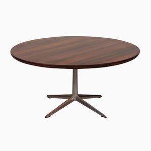 Tavolino da caffè rotondo in palissandro con base in alluminio di H.W. Klein per Bramin, anni '60