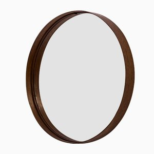 Round Swedish Teak Wall Mirror from Glasmäster, 1950s