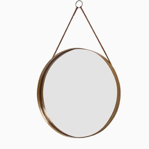 Round Swedish Pine Wall Mirror from Glasmäster, 1950s