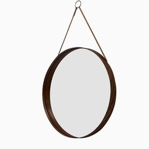 Round Rosewood Wall Mirror from Glasmäster, 1950s
