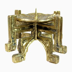 Portacandela brutalista in bronzo, anni '60