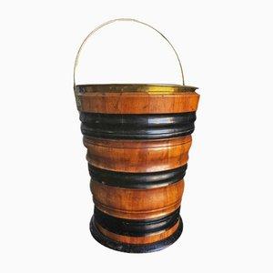 Antiker Torfkübel aus Obstholz & ebonisiertem Holz, 1890er
