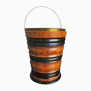 Antique Fruitwood & Ebonised Wood Peat Bucket, 1890s