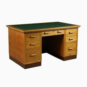 Italian Durmast Veneer & Leatherette Desk, 1940s
