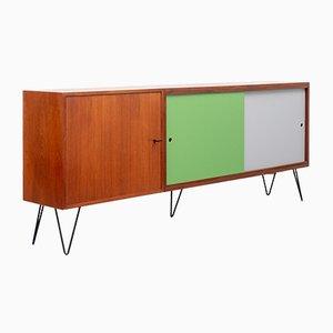 Sideboard aus Teak mit farbigen Türen, 1960er