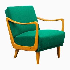 Beech Wood Green Armchair, 1950s