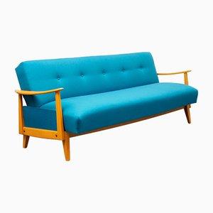 Ausziehbares blaues Sofa aus Buchenholz, 1950er