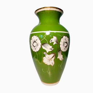 Hand-Painted Green Porcelain Vase from Chodzież, 1950s
