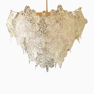 Lampadario in vetro smerigliato soffiato a mano di Mazzega, anni '60