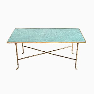Table Basse Vintage avec Plateau en Malachite